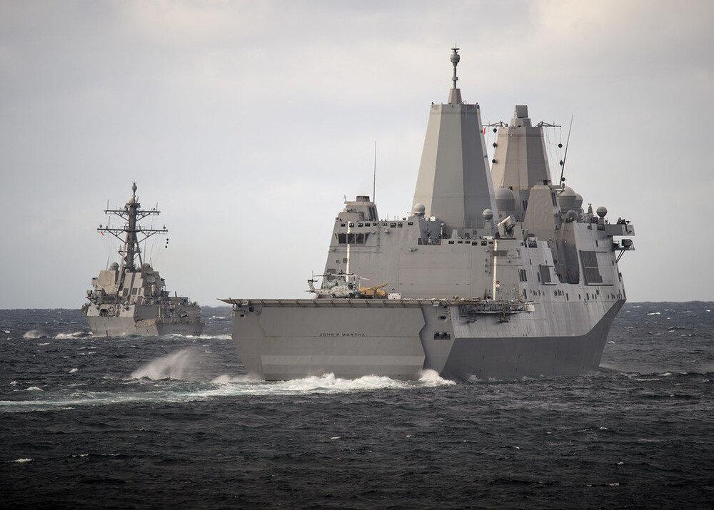 ناو جنگی آمریکا وارد آب های قطر شد